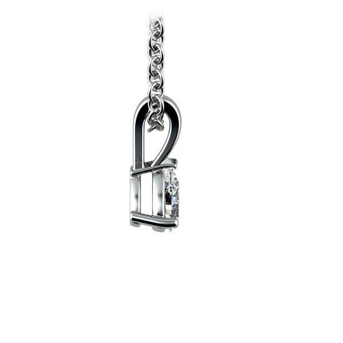 Pear Diamond Solitaire Pendant in White Gold (1/5 ctw) | Image 02
