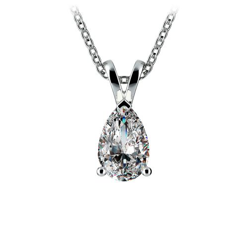 Pear Diamond Solitaire Pendant in White Gold (1 ctw) | Image 01