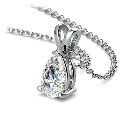 Pear Diamond Solitaire Pendant in White Gold (1 ctw) | Image 03