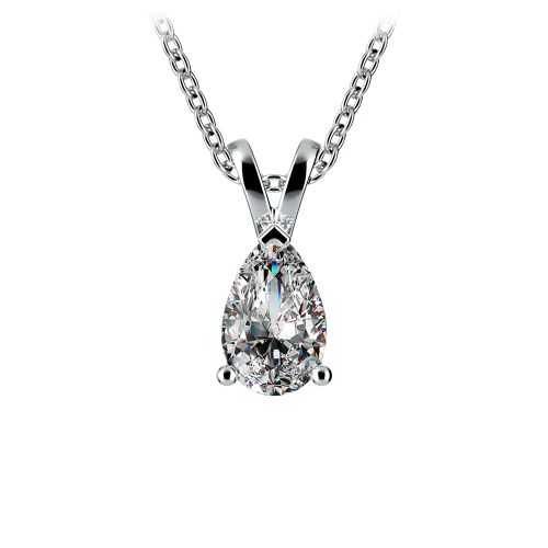 Pear Diamond Solitaire Pendant in White Gold (3/4 ctw) | Image 01