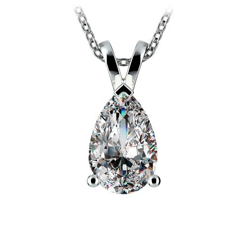 Pear Diamond Solitaire Pendant in White Gold (3 ctw) | Image 01