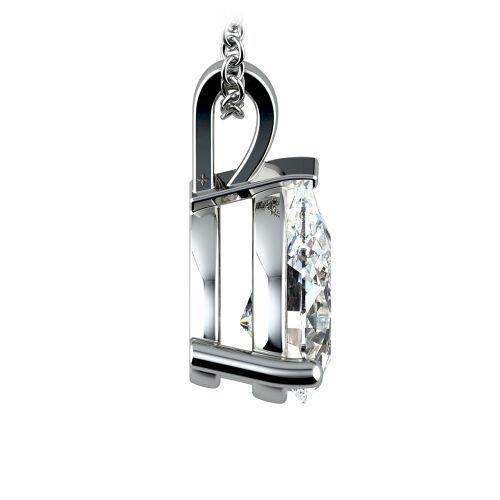 Pear Diamond Solitaire Pendant in White Gold (3 ctw) | Image 02