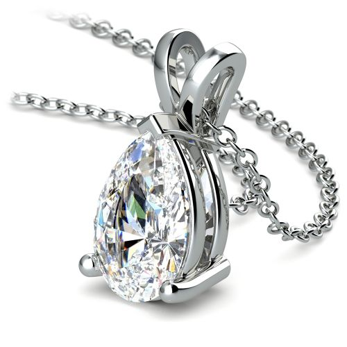 Pear Diamond Solitaire Pendant in White Gold (3 ctw) | Image 03