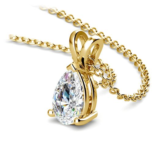 Pear Diamond Solitaire Pendant in Yellow Gold (1 ctw) | Image 03
