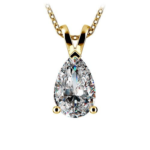 Pear Diamond Solitaire Pendant in Yellow Gold (3 ctw) | Image 01