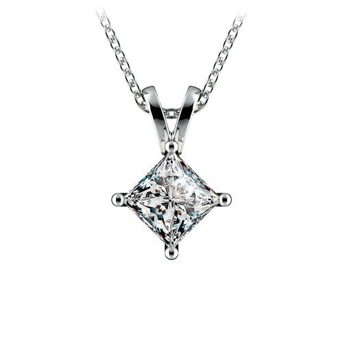 Princess Diamond Solitaire Pendant in Platinum (1 ctw)  | Image 01