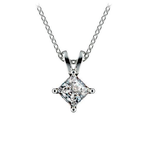 Princess Diamond Solitaire Pendant in Platinum (3/4 ctw)    Image 01