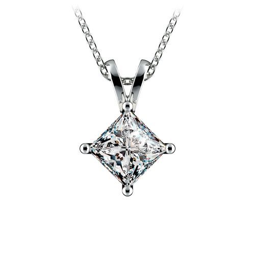 Princess Diamond Solitaire Pendant in White Gold (1 1/2 ctw)    Image 01