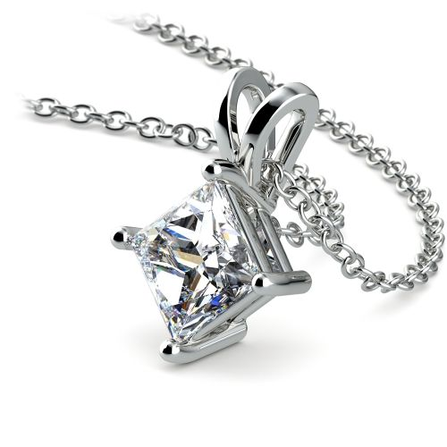 Princess Diamond Solitaire Pendant in White Gold (1 1/2 ctw)  | Image 03