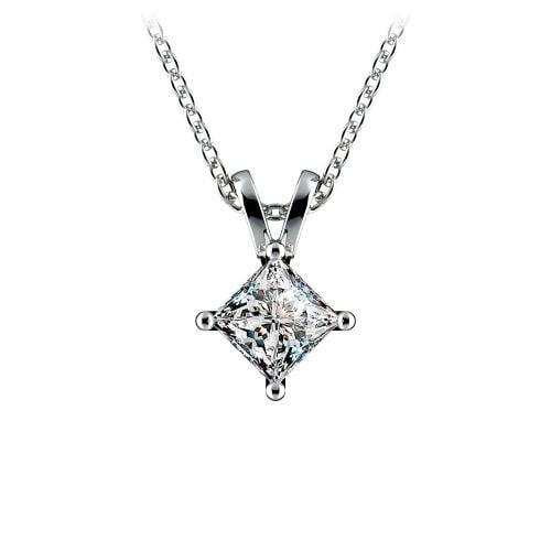 Princess Diamond Solitaire Pendant in White Gold (1/2 ctw)  | Image 01