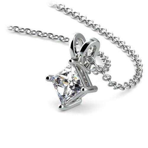 Princess Diamond Solitaire Pendant in White Gold (1/2 ctw)  | Image 03