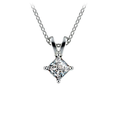 Princess Diamond Solitaire Pendant in White Gold (1/4 ctw)  | Image 01