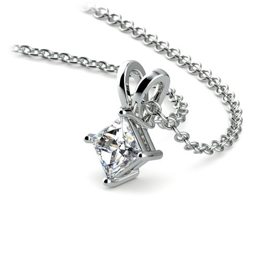 Princess Diamond Solitaire Pendant in White Gold (1/4 ctw)  | Image 03