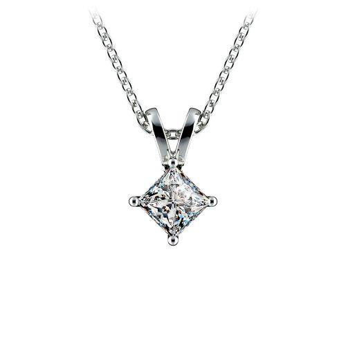 Princess Diamond Solitaire Pendant in White Gold (1/5 ctw)  | Image 01