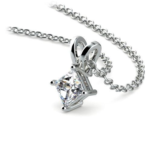 Princess Diamond Solitaire Pendant in White Gold (1/5 ctw)  | Image 03