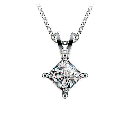 Princess Diamond Solitaire Pendant in White Gold (1 ctw)    Image 01