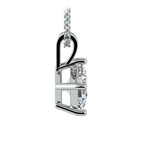 Princess Diamond Solitaire Pendant in White Gold (1 ctw)    Image 02