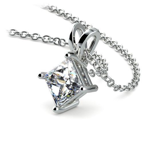 Princess Diamond Solitaire Pendant in White Gold (1 ctw)    Image 03