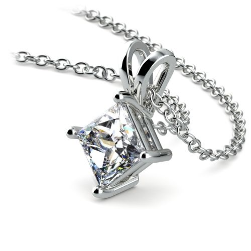Princess Diamond Solitaire Pendant in White Gold (1 ctw)  | Image 03