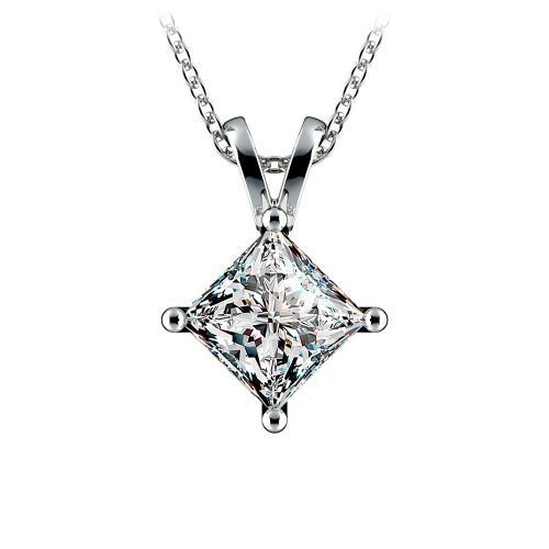 Princess Diamond Solitaire Pendant in White Gold (2 ctw)  | Image 01