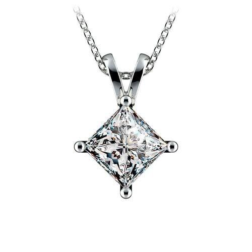 Princess Diamond Solitaire Pendant in White Gold (2 ctw)    Image 01