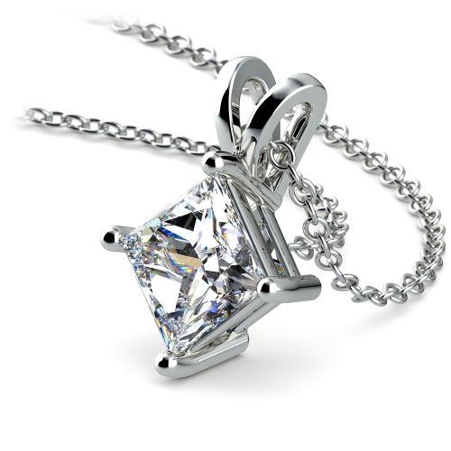 Princess Diamond Solitaire Pendant in White Gold (2 ctw)    Image 03
