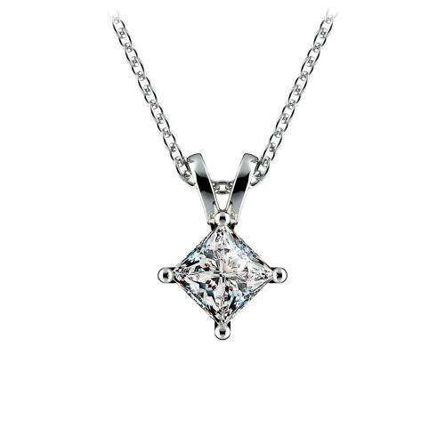 Princess Diamond Solitaire Pendant in White Gold (3/4 ctw)  | Image 01
