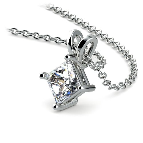 Princess Diamond Solitaire Pendant in White Gold (3/4 ctw)  | Image 03