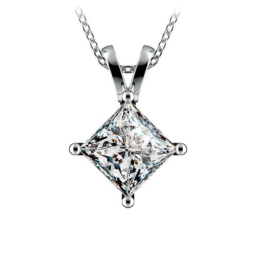 Princess Diamond Solitaire Pendant in White Gold (3 ctw)  | Image 01