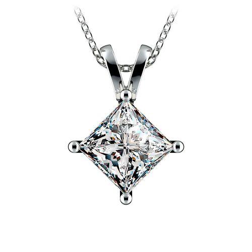 Princess Diamond Solitaire Pendant in White Gold (3 ctw)    Image 01