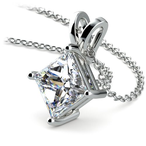 Princess Diamond Solitaire Pendant in White Gold (3 ctw)  | Image 03