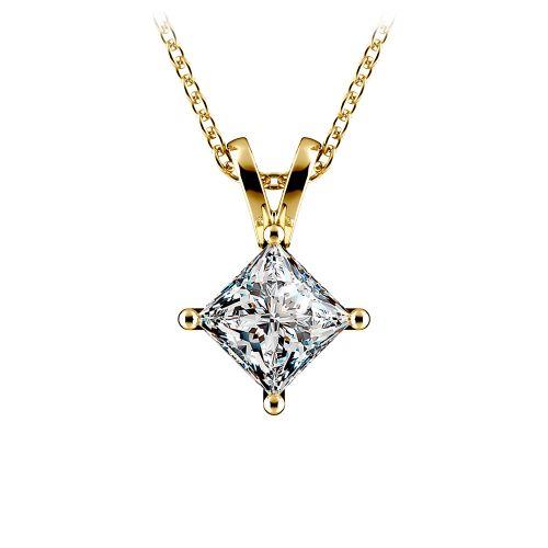 Princess Diamond Solitaire Pendant in Yellow Gold (1 ctw)  | Image 01