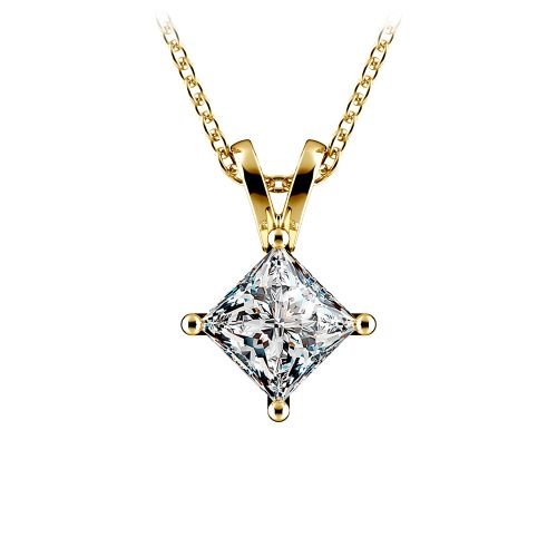Princess Diamond Solitaire Pendant in Yellow Gold (1 ctw)  | Image 01