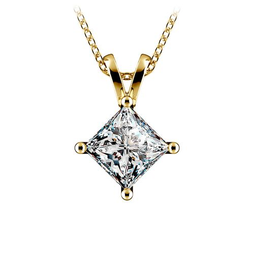 Princess Diamond Solitaire Pendant in Yellow Gold (2 ctw)  | Image 01