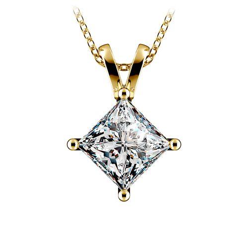 Princess Diamond Solitaire Pendant in Yellow Gold (3 ctw)  | Image 01
