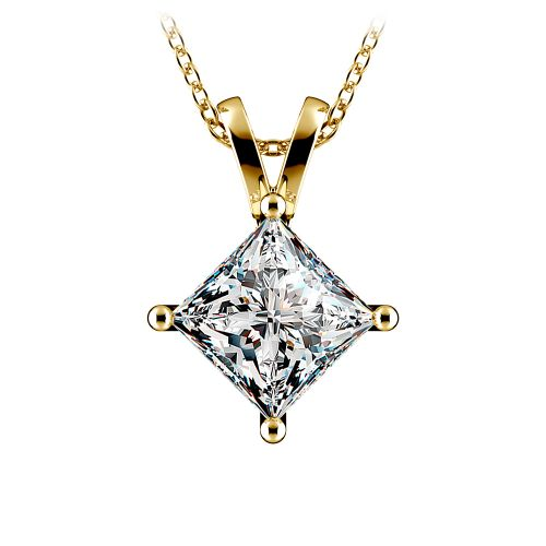 Princess Diamond Solitaire Pendant in Yellow Gold (3 ctw)  | Image 01
