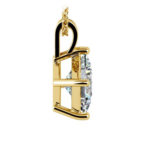 Princess Diamond Solitaire Pendant in Yellow Gold (3 ctw)  | Image 02