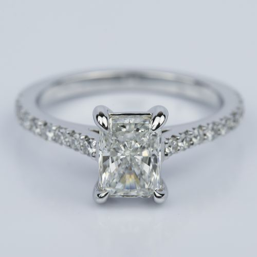 124 carat radiant cut diamond engagement ring with french