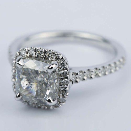 3 Carat Cushion Diamond Halo Engagement Ring
