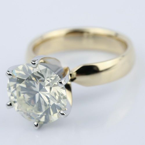 4 Carat Diamond Engagement Ring in Yellow Gold