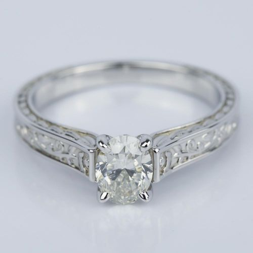 antique floral 0 90 carat oval engagement ring