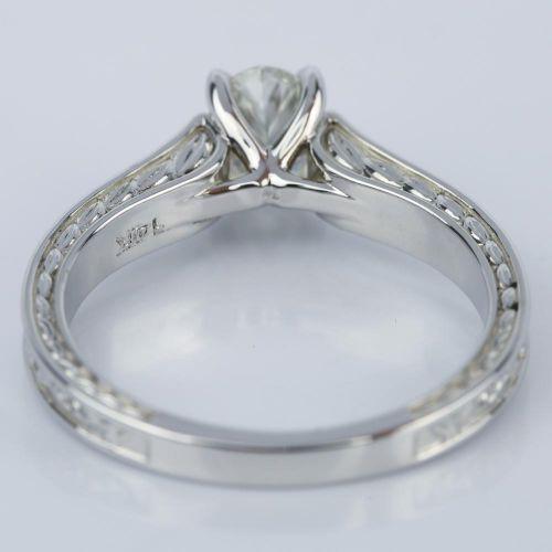 Antique Floral 0 90 Carat Oval Diamond Engagement Ring