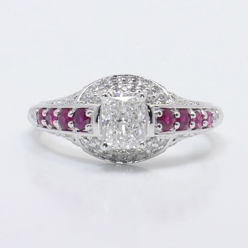 antique halo radiant cut ruby engagement ring
