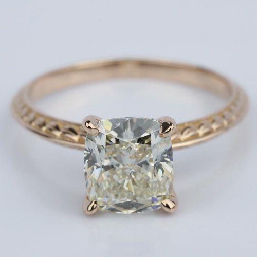 Antique Knife Edge Cushion Diamond Engagement Ring 3 Carat