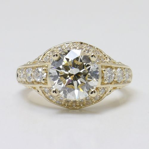Antique Scroll Bands: Antique Scroll Round Diamond Ring In Yellow Gold