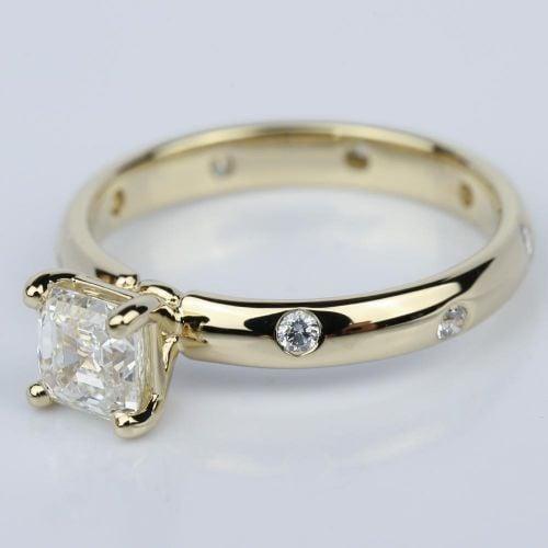 Asscher Cut Inset Diamond Engagement Ring in Yellow Gold 1 01 ct