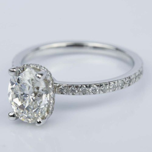 Custom Oval Engagement Ring in White Gold 2 ct