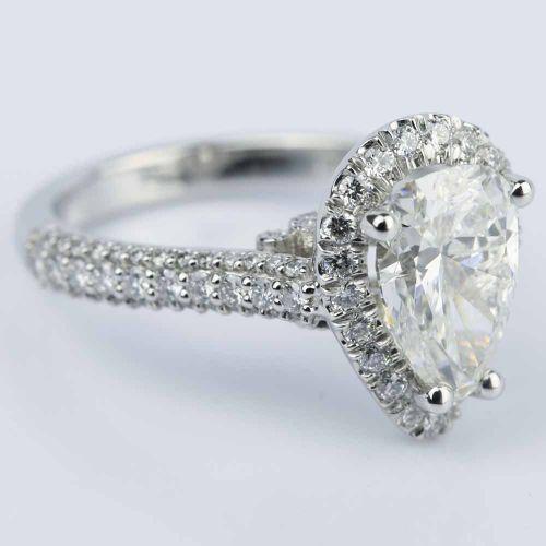 Custom Pear Cut Diamond Halo Engagement Ring 2 Carat