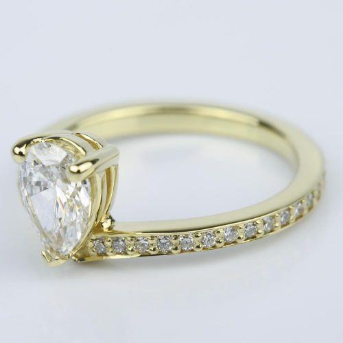 Custom Tear Drop Pear Diamond Engagement Ring 1 ct