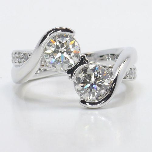Custom Two Stone Bezel Diamond Bridge Engagement Ring